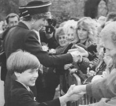 Prince William and his mother, Diana, Princess of Wales, meet the crowd for William's first official engagement after a religious service at Llandaaf Cathedral in Cardiff, Wales, March 1, 1991. It was the future Prince of Wales first visit to Wales.