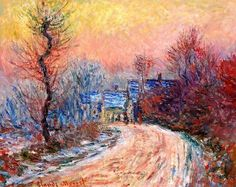 Art Pics Channel (@ArtPicsChannel) | Twitter / Coming into Giverny in Winter, Sunset by Claude Monet