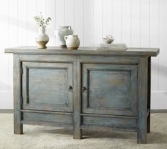 Pottery Barn Molucca Media Console Table Blue Distressed