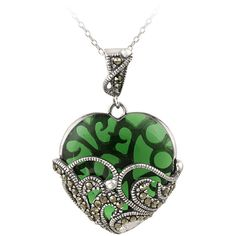 Glitzy Rocks Sterling Silver Marcasite and Green Glass Heart Necklace ($44) ❤ liked on Polyvore featuring jewelry, necklaces, black, sterling silver pendants, glass pendants, sterling silver heart pendant, sterling silver heart necklace and long chain necklace