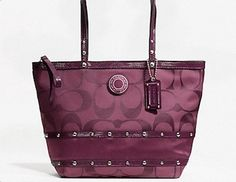 Addicted to Saving Giveaway: Studded Sateen Stripe Tote Coach Purse
