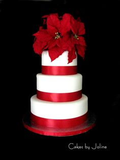 Poinsettia Wedding Cake - simple and pretty
