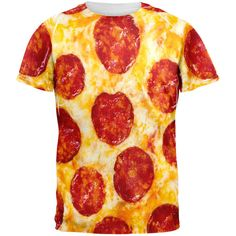 Pizza Pizza! This unique sublimation design looks good enough to eat. Indulge your craving. The dye sublimation printing process creates slight imperfections that are unique to each garment. [SKU: 95384]