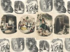 A collection of illustrations by John Leech from the first edition of Charles Dickens' A Christmas Carol.