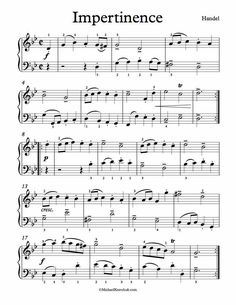 Free Piano Sheet Music - Impertinence - Handel. From First Book For Pianists. Enjoy!