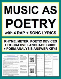 Ideas For Music Rap Student Rap Song Lyrics, Rap Songs, Music Songs, Poem Analysis, Poetry Unit, Teaching Poetry, Figurative Language, Music Education, Student Learning