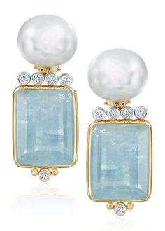 Freshwater Pearl Faceted Aquamarine Diamond and Gold Earrings - Pearl Jewelry Aquamarine Jewelry, Pearl Jewelry, Silver Jewelry, Silver Rings, Druzy Jewelry, Jewelry Logo, Men's Jewelry, Turquoise Jewelry, Pendant Jewelry