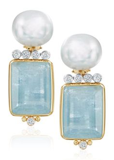 eb72a965571a Freshwater Pearl Faceted Aquamarine Diamond and Gold Earrings   diamondearring  GoldEarrings