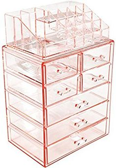 Amazon.com: Sorbus Acrylic Cosmetic Makeup and Jewelry Storage Case Display, Pink: Home & Kitchen
