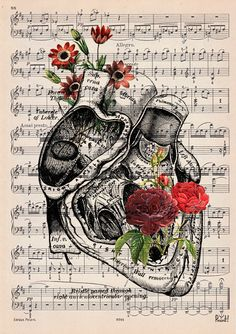 Heart with flowers over music sheet Love gift first by PRRINT