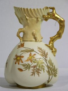 ANTIQUE ROYAL WORCESTER SHELL-FORM PITCHER. ROYAL WORCESTER PORCELAIN ENAMEL & GILT DECORATED LOBBED SHELL-FORM PITCHER. HEIGHT 8 1/2