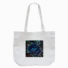 Swirly Blue Neon Rose Tote Bag (White)