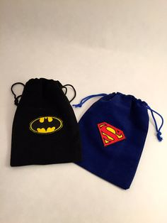 Superhero Favor Bags: 10 Drawstring Bags With by MadHatterPartyBox