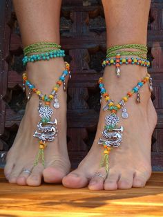 Fierce DRAGON BAREFOOT sandals Green Anklets crochet Gypsy Sandals WANDERLUST crochet anklets barefoot jewelry bottomless sandal. $77.00, via Etsy.