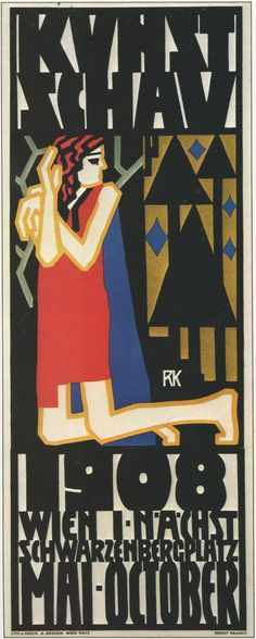 Kalvach. Poster for 'Kunstschau Wein 1908', printed by Albert Berger