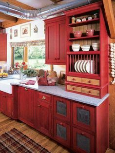 "I just found my ""Perfect Red Country Kitchen Cabinet Design"" by Best Country Kitchen Cabinets Design ***Even if the red cabinets aren't right, I like that some drawers are tin and little nook-type drawers Country Kitchen Cabinets, Kitchen Cabinet Design, Kitchen Redo, New Kitchen, Kitchen Country, Kitchen Cabinetry, Kitchen Interior, Floors Kitchen, Vintage Kitchen"