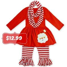 "3PC ""Santa"" Shirt, Pant & Scarf SET"