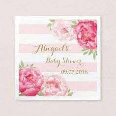 Blush Stripes Pink Watercolor Baby Shower Napkins