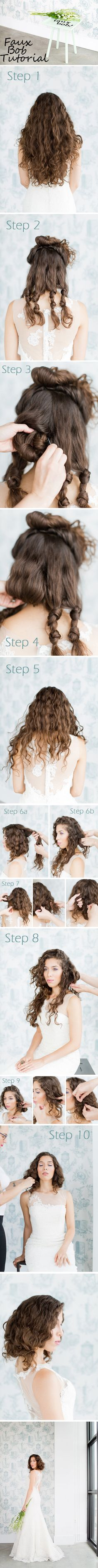 Faux Bob Tutorial, wedding hair perfect, check out the step by step instructions | Melissa Kruse Photography http://storyboardwedding.com/gorgeous-wedding-hair-faux-bob-tutorial/