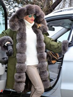 NEW 2015 AMERICAN PARKA & FOX FUR COAT LIK SABLE CHINCHILLA ROYAL SAGA MINK LYNX #AMERICANMILITARYPARKA #OtherCoats