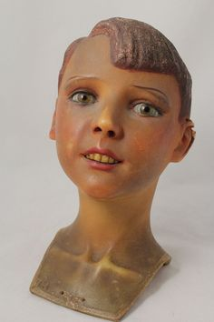 vintage 1930's Wax Boy Mannequin Head with glass eyes, signed Eyckmans   eBay