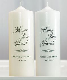 Honor Love Cherish Personalized Unity Candle  can buy a large candle and have a decal made at a decal shop and put on...much cheaper.