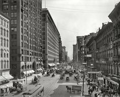 """Chicago, """"State Street south from Lake Street."""" At left, the Masonic Temple and Marshall Field department store. Photo by Hans Behm. Chicago Area, Chicago Illinois, Old Pictures, Old Photos, 1920s, Masonic Temple, Masonic Lodge, Chicago Photos, State Street"""
