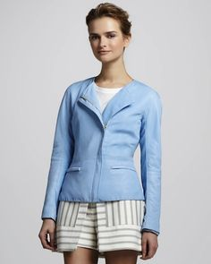 Not really a biker babe? A sleek baby blue jacket sans hardware will be just as stylish.
