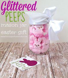 Glittered Peeps Easter Mason Jar Gift - The Happier Homemaker