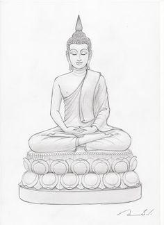 พระพุทธมหาปุญญาบารมี: ภาพวาดลายเส้นก่อนการปั้น พระพุทธมหาปุญญาบารมี Lotus Buddha, Art Buddha, Buddha Kunst, Buddha Drawing, Buddha Tattoo Design, Buddha Tattoos, Outline Drawings, Art Drawings Sketches, Budha Painting