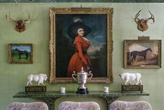 The dining room at Templeton, C.Z Guest's equestrian estate in Westbury.