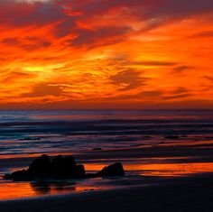 ursobeautiful2me:    travelingcolors:    Red Sunset at Hendry's, Santa Barbara | California (by Toby Keller)    wow - red sky at night, sailor's delight… :-)