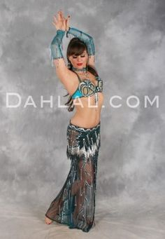 TANTALIZING TEAL in Teal and Silver by Designer Oriental Originals, Turkish Belly Dance Costume - Dahlal Internationale Store
