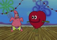 """This article is a gallery of screenshots taken from the SpongeBob SquarePants episode """"Valentine's Day"""" from season one, which aired on February Funny Cartoon Memes, Funny Spongebob Memes, Playlists, Spongebob Painting, Watch Spongebob, Pineapple Under The Sea, The Heart Of Man, Mood Pics, Patrick Star"""