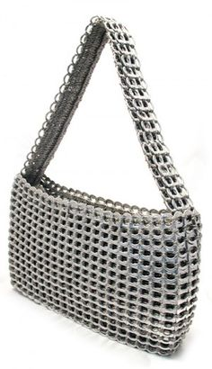 Ecoist handbags are made with candy wrappers, bottle lables, pull tabs, barcodes, and newspapers.