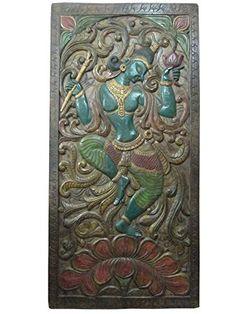 "India Carving Door Panel Dancing Lord Krishna Hand Carved Wall Panels 72"" X 36"" Mogul Interior http://www.amazon.com/dp/B00NIHMCJY/ref=cm_sw_r_pi_dp_21Hgub1Y67C7A"