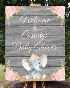 Pink Elephant Baby Shower Welcome Sign Rosa Elefant-Babyparty-Willkommensschild Dumbo Baby Shower, Idee Baby Shower, Mesas Para Baby Shower, Shower Bebe, Baby Girl Shower Themes, Baby Shower Signs, Girl Baby Showers, Decorations For Baby Shower, Elephant Baby Shower Centerpieces