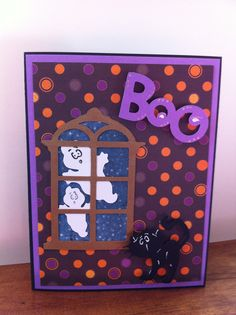Cricut Halloween card - using Christmas cartridge for window, Paper Doll Dress Up for cat and ghosts, Create a Critter2 for Boo