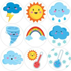 144 Cute Weather 30 mm Reward Stickers for School Teachers, Parents and Nursery Teaching Weather, Preschool Weather, Weather Crafts, Preschool Learning Activities, Teaching Kids, Kids Learning, Teaching Colors, Family Activities, Reward Stickers