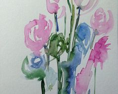 Original Watercolor watercolor postcard image art flowers abstract flowers Watercolor