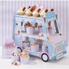 Talking Tables Street Stalls Card 3-Tier Ice Cream Van Stand