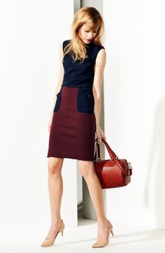 Tory Burch Colorblock Sheath - Deep Plum & Navy #commandress