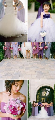 Love the all the shades of purple for the bridesmaids dresses and the flower girl!