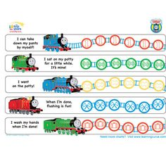 Thomas & Friends Potty Training Chart. HOLY CRAP. I am not sure Henry will be into sticker charts, but if he is this one might send him over the edge into toddler nirvana. This website has all different kinds!