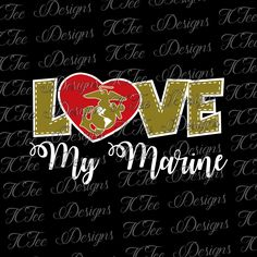 Love My Marine - USMC - Marine Wife - SVG Design Download - Vector - Clip Art - Cut File - Marine Corps by TCTeeDesigns on Etsy