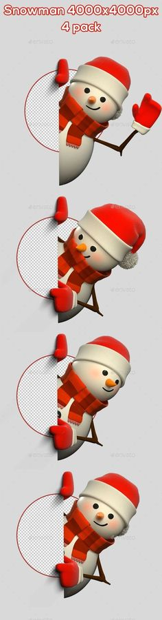 3D Snowman #From Side - 4 Pack - Characters #3D #Renders