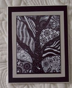 Zentangles my way--using fabric instead of ink or stitching. I just listed Refrigerator Photo Magnet Zentangle Tree on The CraftStar @TheCraftStar #uniquegifts