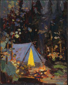 Campfire - Tom Thomson 1916 Canadian Group Of Seven Emily Carr, Canadian Painters, Canadian Artists, Art Nouveau, Nocturne, Landscape Art, Landscape Paintings, Group Of Seven Artists, Tom Thomson Paintings
