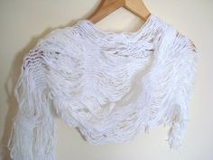 White ivory Scarf shawl neckwarmer by bypasha on Etsy, $14.00