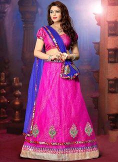 Marvelous Pink Blue Net Designer Lehenga Choli http://www.angelnx.com/